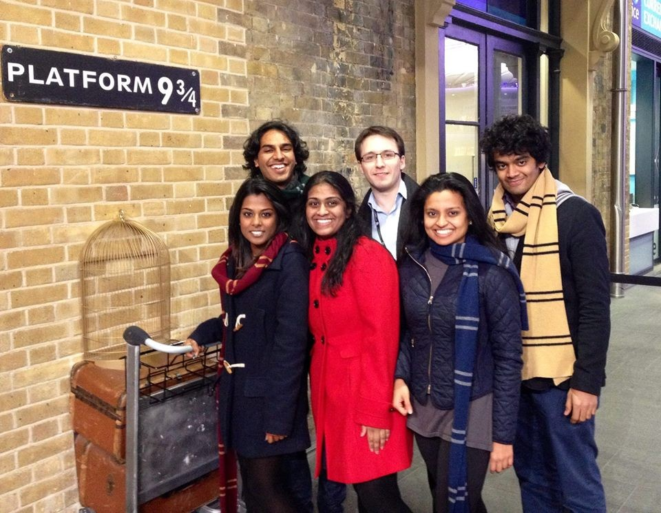 The original committee (from left to right): Vino, Talhah, Charmilie, Harry, Writ & Sanjiv. The picture was taken at Platform 9 & 3/4 in King's Cross.
